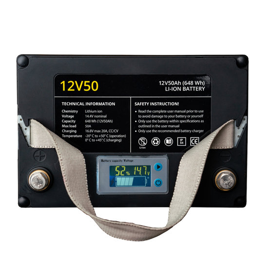 Rebelcell 12v 50Ah Angling li-ion Accu met li-ion 8A acculader
