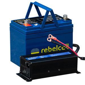 Rebelcell 12V70A PACK lithium accu en bijpassende lader 12,6V20A