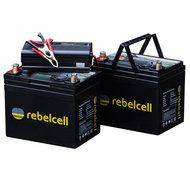 - Rebelcell met dubbele 12v 50Ah Angling li - ion Accu met li - ion 8A acculader