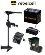 Complete Set Minn kota Endura MAX 40lbs 36' met Rebelcell Lithium accu, Rebelcell acculader, zekerin